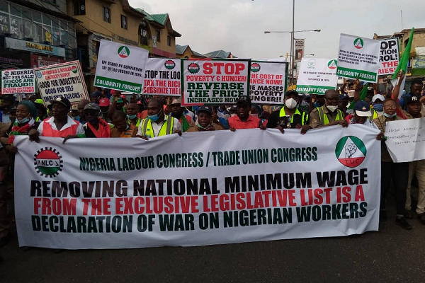 WORKERS PROTEST GOVERNMENT'S ASSAULT ON MINIMUM WAGE LAW